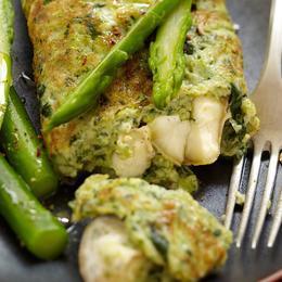 Photos Recette de printemps : Omelette au cresson, asperges vertes et crottin de Chavignol