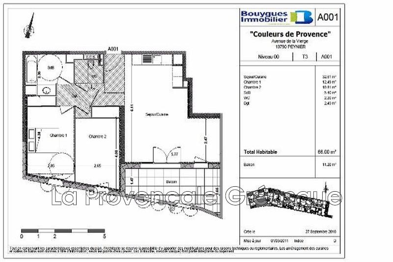 appartement  3 pièces  Peynier   66m² -