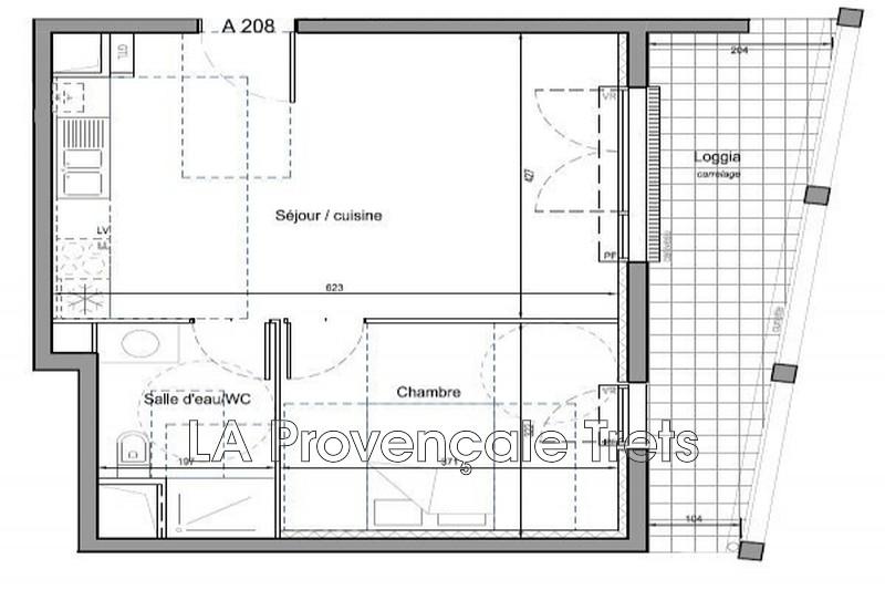 appartement  2 pièces  Trets   43m² -