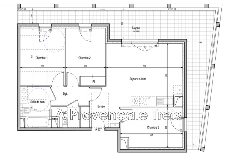 appartement  4 pièces  Trets   69m² -