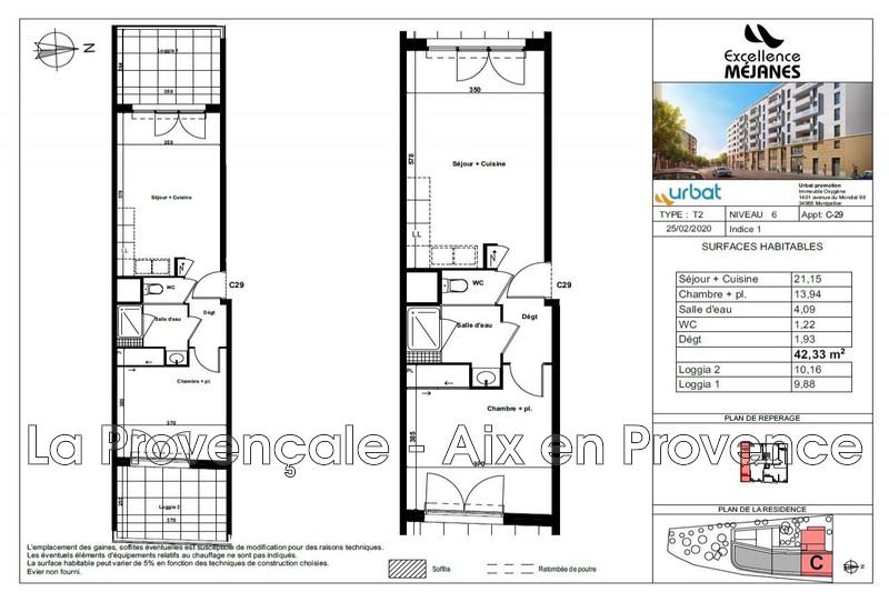 appartement  2 pièces  Aix-en-Provence   42m² -