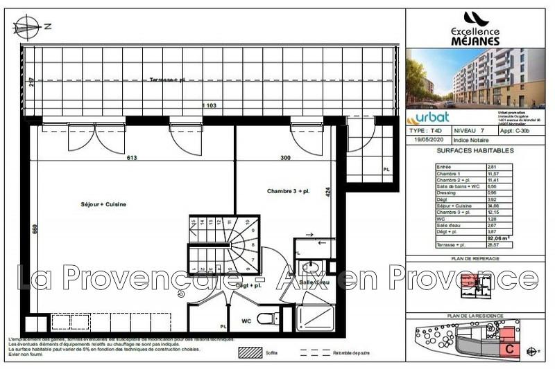 appartement  4 pièces  Aix-en-Provence   92m² -