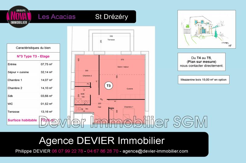 Appartement Saint-Drézéry   achat appartement  3 pièces   73m²
