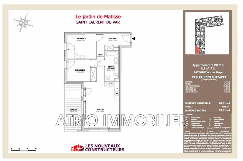 Photo Appartement Saint-Laurent-du-Var Tzanck,   achat appartement  3 pièces   65 m²