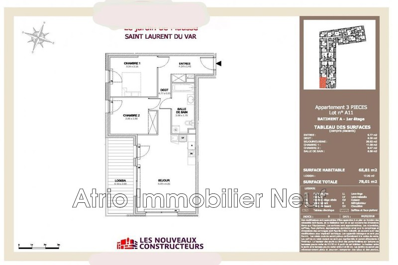 Photo Appartement Saint-Laurent-du-Var Quartier tzanck,  Neuf appartement  3 pièces   65 m²