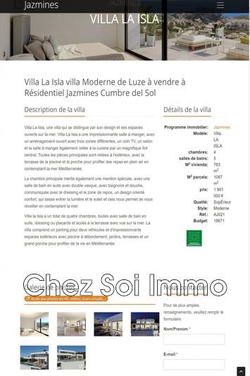 Villa Cumbre del Sol   achat villa  2 chambres   783m²