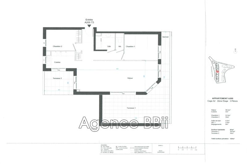 Appartement Nice Archet,   achat appartement  3 pièces   81m²