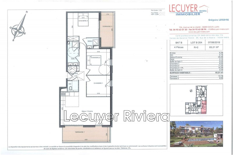 Photo Apartment Golfe-Juan Proche plages,   to buy apartment  4 rooms   83m²