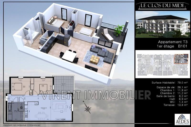 Photo Appartement Montélimar Sud ville,   achat appartement  3 pièces   79m²