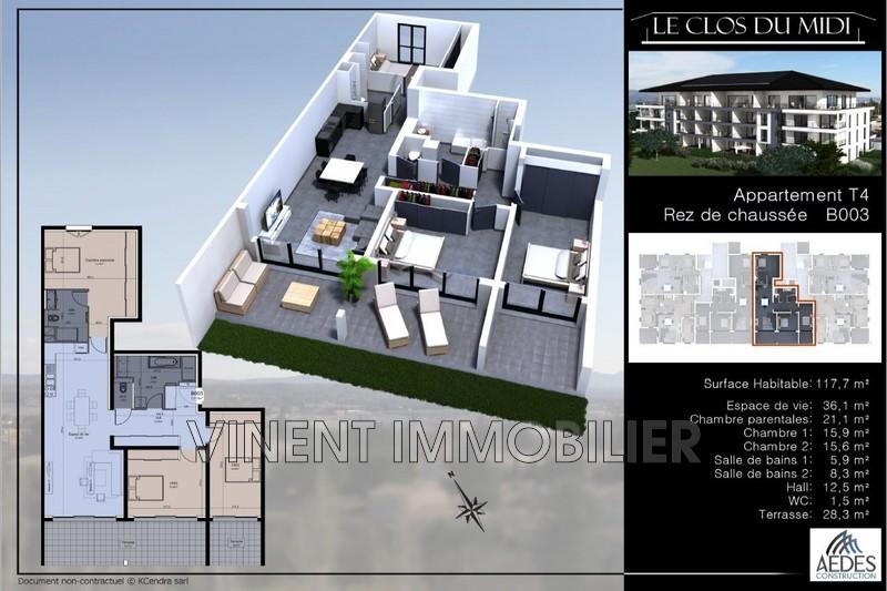 Photo Apartment Montélimar Sud ville,   to buy apartment  4 rooms   118m²